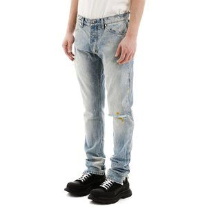 NEW Rhude Ripped Jeans Paint Splatter in Blue 30